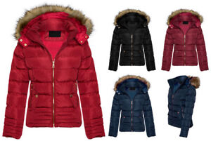 New-Womens-Ladies-Quilted-Winter-Puffer-Fur-Collar-Hooded-Coat-Parka-Jacket-Size
