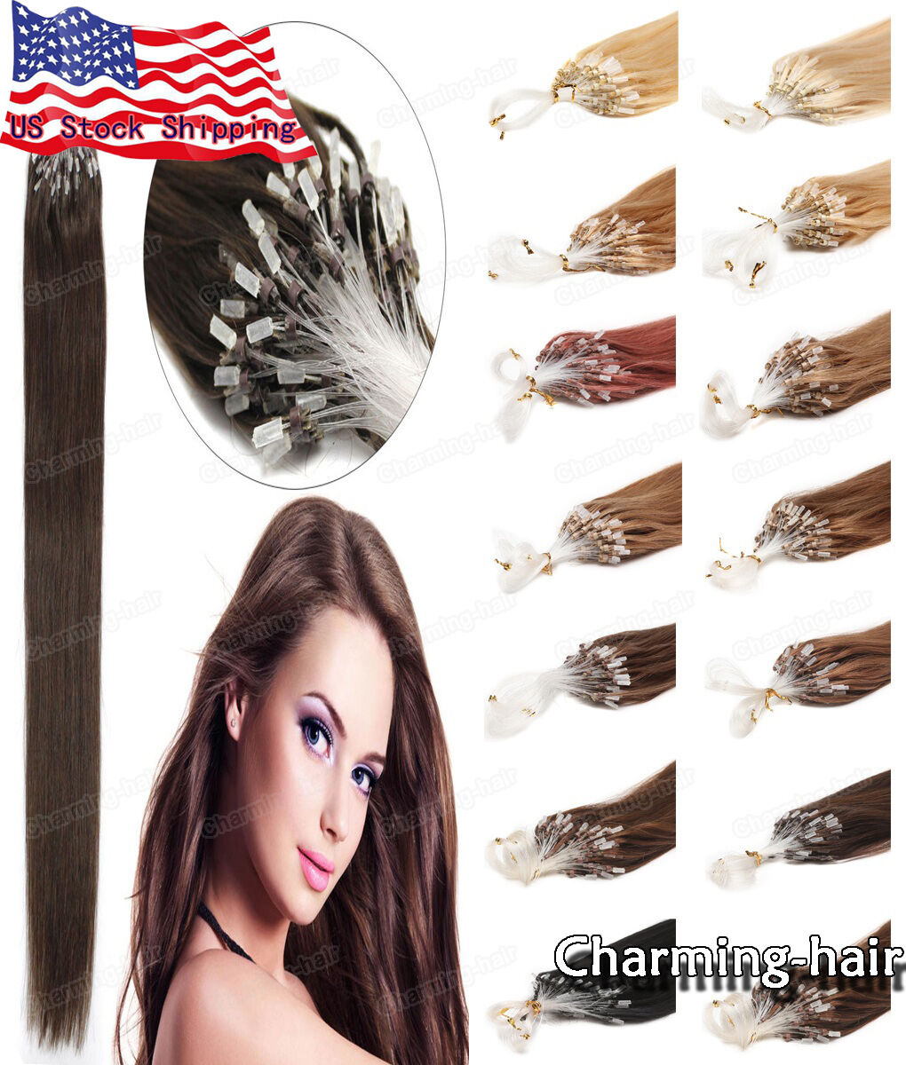 Easy Micro Rings Bead Loop Tip Remy Human Hair Extensions 16 18 20
