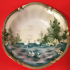 R-S-PRUSSIA-CABINET-BOWL-SWANS-HAND-PAINTED-ANTIQUE-10-1-2-034-THICK-BEADED-GOLD
