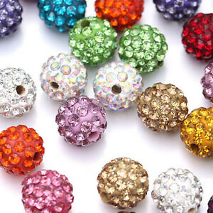 100Pcs-Mixed-Crystal-Pave-Clay-Disco-Ball-Spacer-Beads-Jewelry-Findings-DIY-10MM