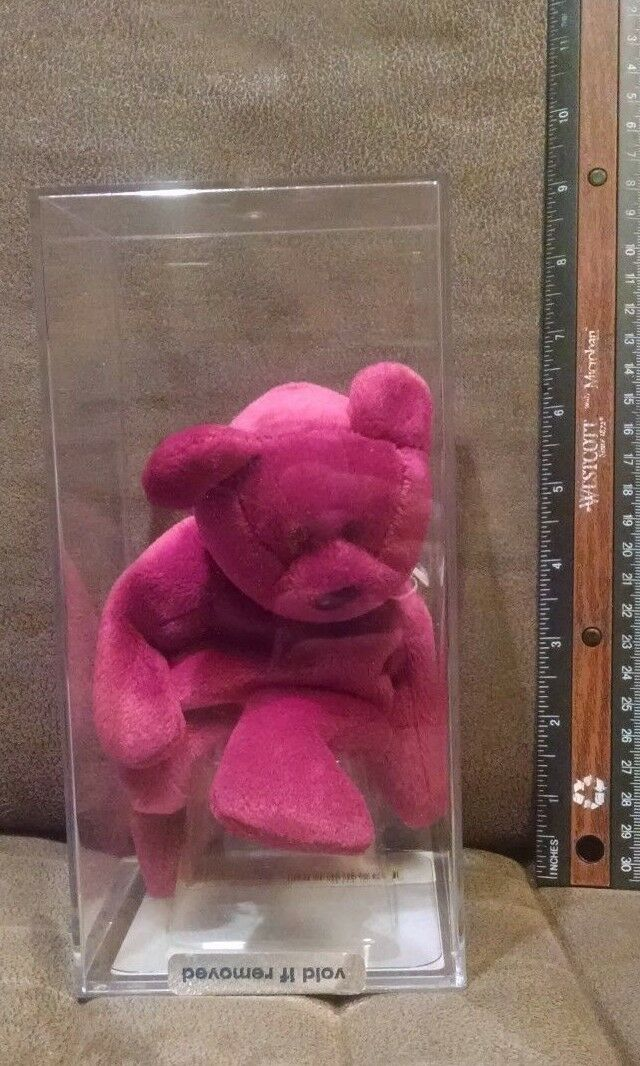 Authentic Ty Beanie Babies - New Face Magenta Teddy in PVC case w (certificate)