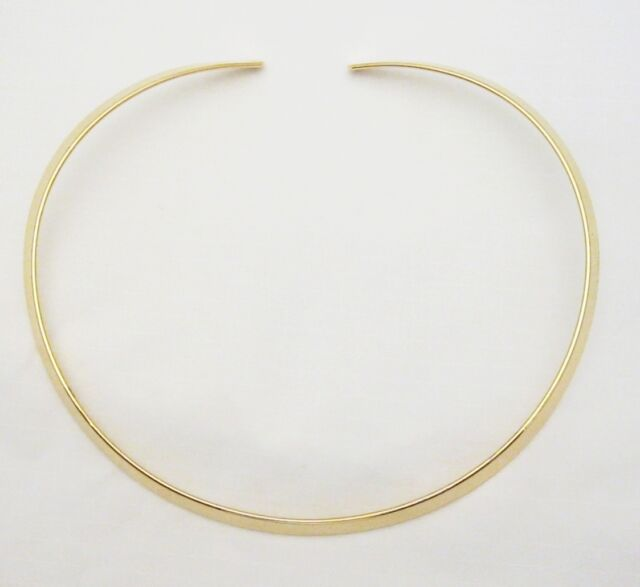 New Shiny Gold 6mm Wide Flat Round Choker Collar Necklace Wire (CS15)