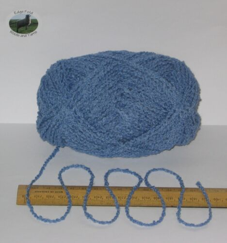 100g Bola Azul Boucle 100/% Pura Raza Británico Lana Doble Hilo Tejer DK EF806