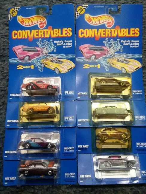 Hot Wheels 1990 CONgreenABLES color Changing Assorted Diecast Lot of 8