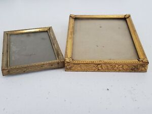 Set of 2 Antique Ornate Metal Frames Small