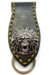 Biker-Skull-Indian-Trucker-Gold-Stitch-Leather-Belt-Clip-Keychain-Key-Holder