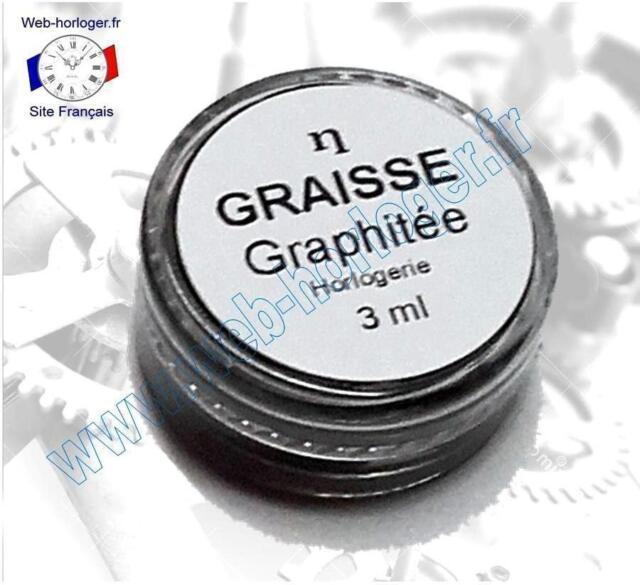 Graisse graphitée pour horloge, pendule 3 ml - Graphite grease for clock-