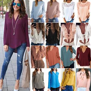 Damen-Bluse-T-shirt-Chiffon-Langarm-Tunika-Casual-Oberteil-Shirt-Hemd-Casual-Top