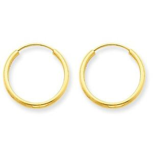 14K-YELLOW-GOLD-SMALL-ROUND-ENDLESS-HOOP-EARRINGS-POLISHED-HOOPS-1-5mm-0-6-INCH