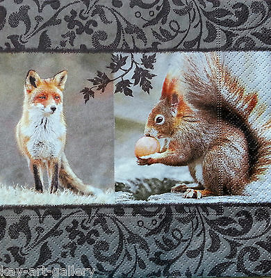 4 x Single Vintage Table Paper Napkins / Craft  / for Decoupage / Party / FOX &