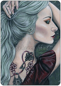 Fantasy-Art-ACEO-PRINT-Art-Woman-Gothic-Pastel-Tattoos-Lock-Key-Mint-Green-Hair