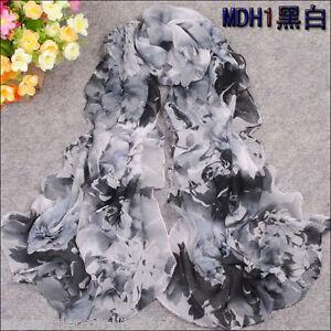 Women-039-s-Chiffon-Georgette-black-White-Floral-Long-Silk-Shawl-Wraps-Scarf