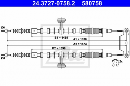 Original ATE Handbremsseil 24.3727-0758.2 hinten