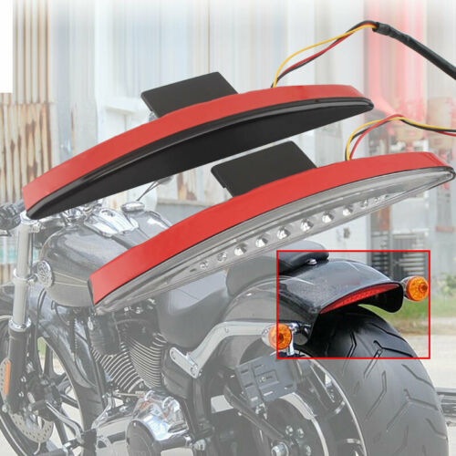 Rear clear Smoke Red Fender Tip Tail Light LED For Harley Breakout FXSB 13-up 17