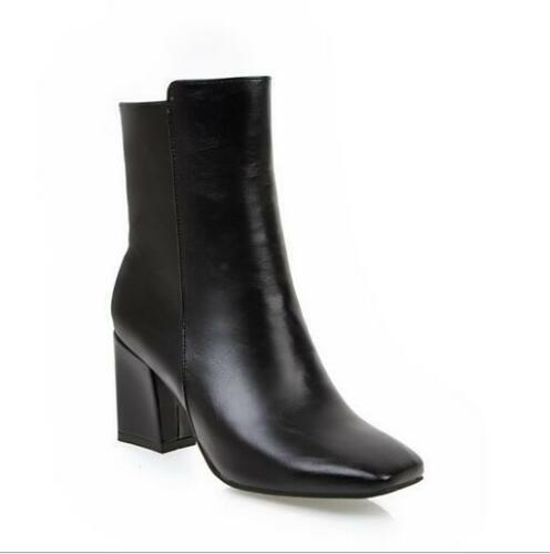 Women Casual New Chunky Solid Leather High-heel Square Toe Pull-on Ankle Boots X
