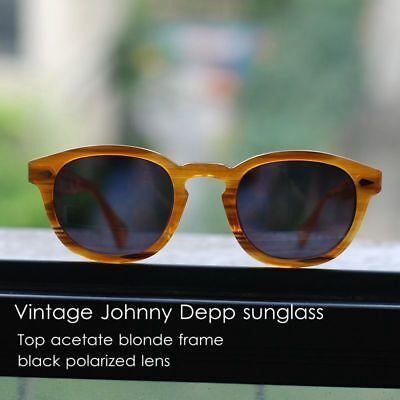 Retro Johnny Depp polarized sunglasses women mens blonde glasses dark green lens