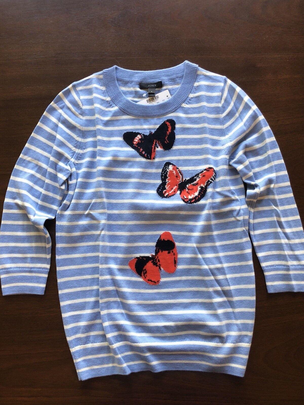 NWT JCREW Merino Tippi Sweater Stripe Monarch bluee Butterfly 3 4 Sleeve Size S