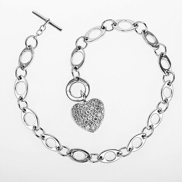 New Stunning Modern Link Heart Charm Bracelet STUNNING [MSRP 239]