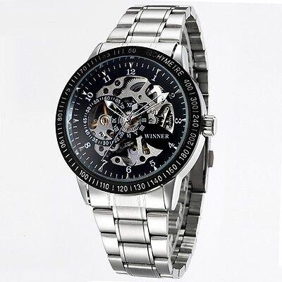 New Winner Automatic Mechanical Men's Skeleton Black Wrist Watch Stainless Steel