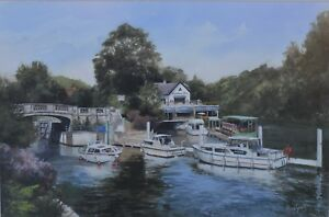 Chris-Tyrell-Lovely-20th-Century-Watercolour-034-Boulters-Lock-034-River-Thames