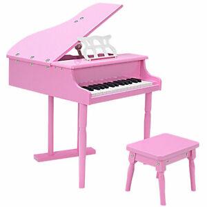 Children 30 Key Toy Grand Baby Piano W Kids Bench Wood