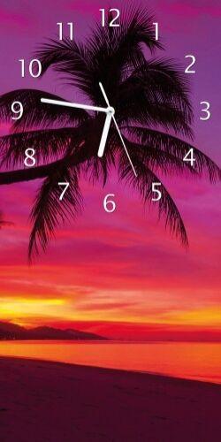 Wallario Design Wanduhr Acrylglas 30 x 60 cm Abendrot Palmen pinker Himmel