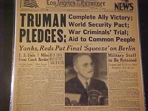 VINTAGE NEWSPAPER HEADLINE~WORLD WAR 2 TRUMAN NAZI ARMY GERMAN US VICTORY WWII