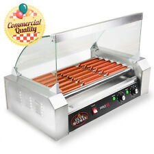 Commercial Electric 18 Hot Dog 7 Roller Grill Cooker Machine 900 Watt With Cover