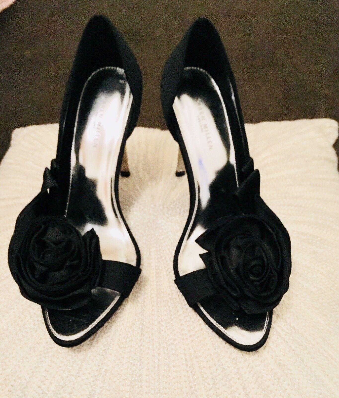 Karen Millen Femmes Taille UK 5 Satin Noir Talons Hauts Avec Rose Détail