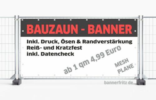 Bauzaunbanner Bauzaunplane Werbebanner VOLLPLANE  580gr.//m² Plane Druck