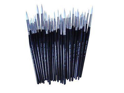 Major Brush BLACK Pack Of 50 Artist Sable Paint Brush Various Sizes School Pack