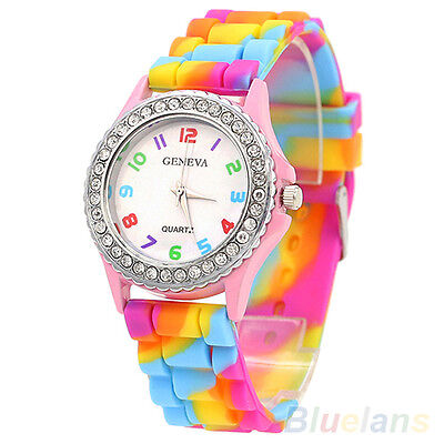 Attractive Crystal Multicolor Silicone Diamante Wristwatches Trendy Wrist Watch