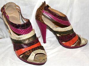 Multi-Colour-Stripe-Strappy-High-Heel-Sandals-Size-5-Purple-Gold-Summer-Peep-Toe