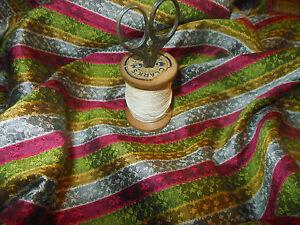 Vtg. French Stripe Silk or Blend Fabric ~ Magenta Green Gray Mustard Gold ~