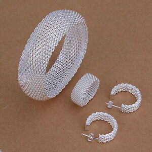 solid-silver-Fashion-Mesh-Beautiful-Ring-Earring-Bangle-Set-wedding-jewelry-925