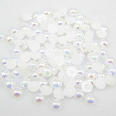NEW 400pcs Half Pearl Bead Flat Back 3mm Scrapbook for Craft FlatBack White 18