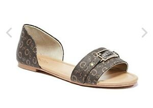 GUESS-Women-039-s-Slide-In-Peep-Toe-Shoes-Size-7M-Brown-New-with-box