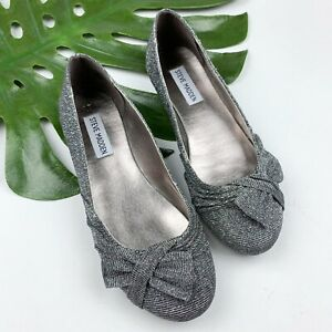 Steve-Madden-Silver-Flats-Womens-Size-5-Woven-Fabric-Shoes-Sparkly-Bow