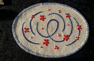 Handmade Small Doilies Embroidered on Linen