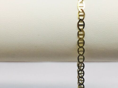 "10kt Solid Yellow Gold Anchor Mariner Link Chain//necklace  3.2 mm 22/""  4 grams"