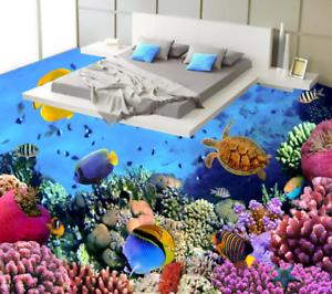 3D Purple Coral Fish 523 Floor WallPaper Murals Wall Print Decal AJ WALLPAPER