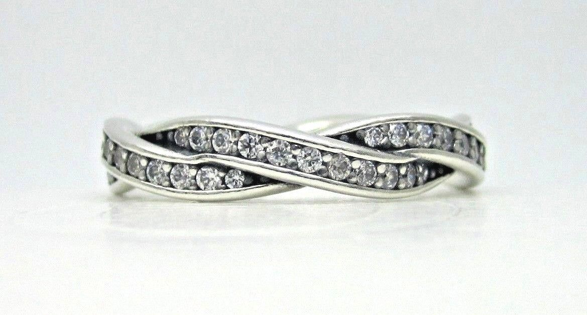 Twist Ring 925 Solid Sterling Silver Fate Braid Stackable Pave Band Size 7.5