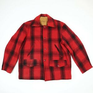 Vtg-50s-60s-Heavyweight-Wool-Outdoor-Sportsman-Jacket-Red-Shadow-Plaid-M-L