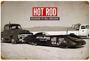 Man Cave Garage Magazine : Hot rod magazine drag racing bonneville metal sign man cave garage