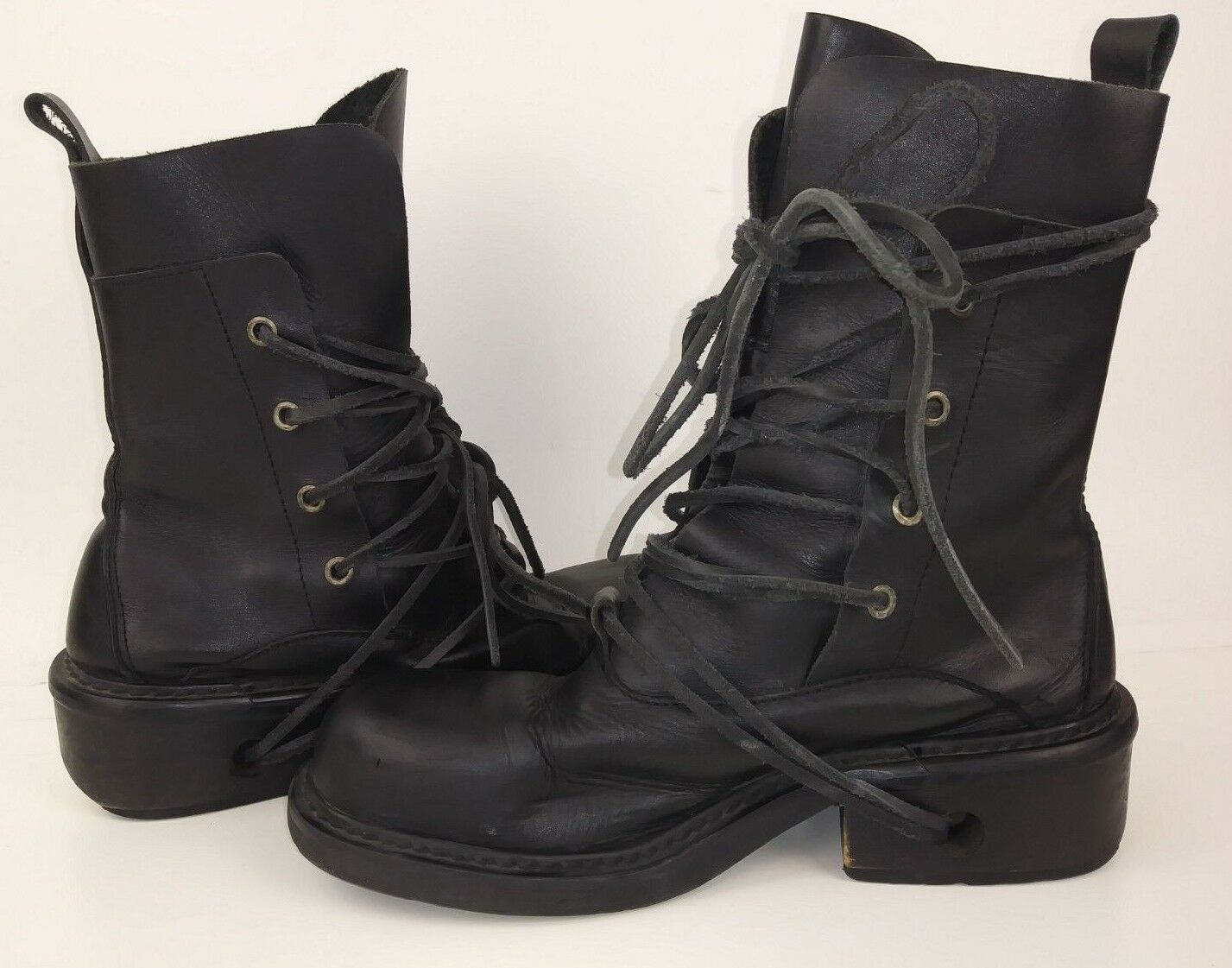 Epox Boots EU 38 US 8 Black Leather Handcrafted Steampunk lace up 1558