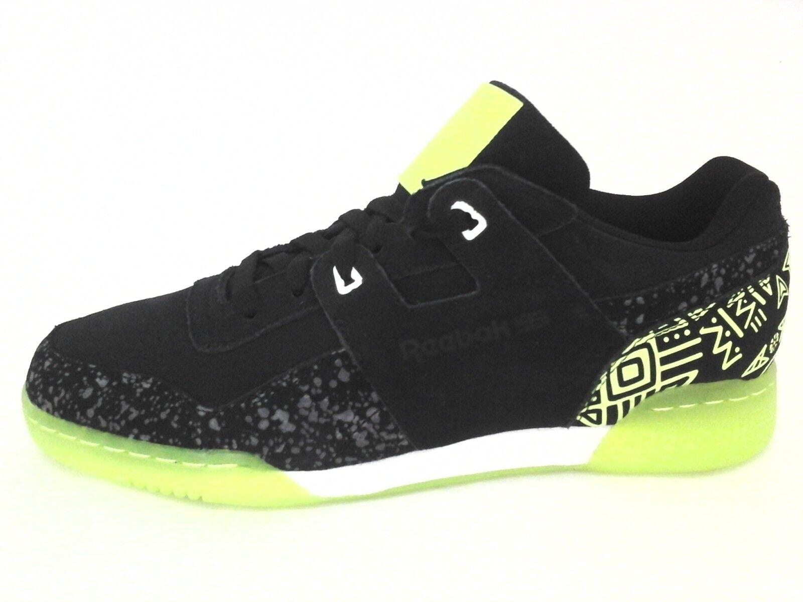 Reebok Workout Plus NC Zapatos Zapatillas De Impresión Negro Neon W Para Hombre US 10.5 Nuevo