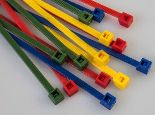 NEU 100 Stück Kabelbinder 4,8x 360 mm bunt rot blau grün gelb grau schwarz natur