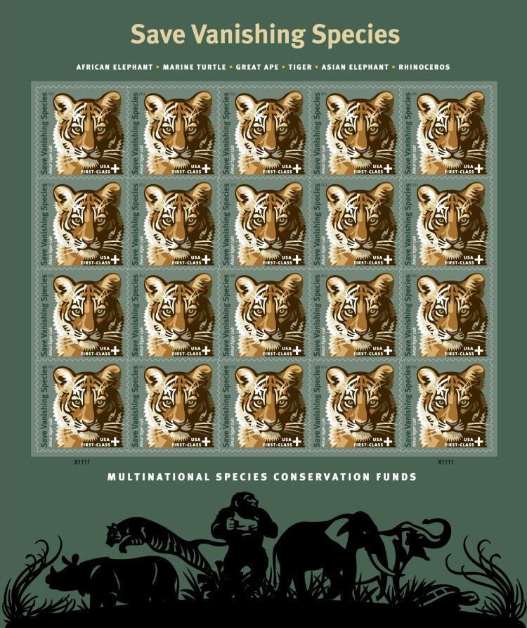2011 44c Semi Postal, Protecting Vanishing Wildlife, Ti