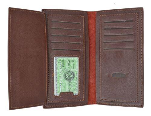 Men Genuine Leather Bifold Long Card Checkbook Holder Wallet Organizer Purse