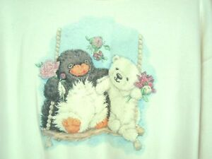4a2b29d1 Details about Womens Sz L Winter Scene Sweatshirt Polar Bear Penguin Kitsch  Kawaii glittery
